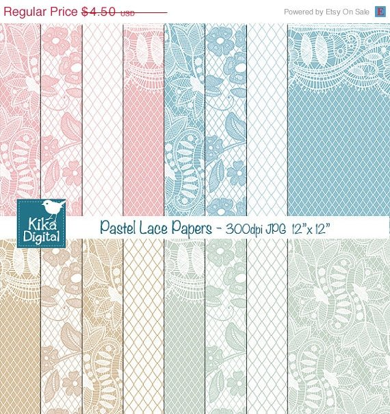 Pastel Lace Digital Papers - Digital Scrapbooking Papers - card design