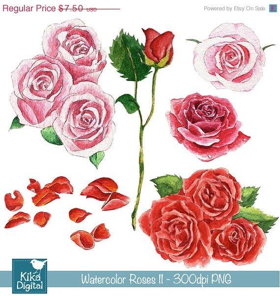 Watercolor Roses Ii Clipart - H, Painted, card design, watercolor, h, drawn