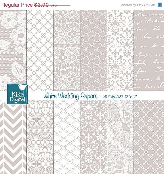 White Wedding Digital Papers - Lace Wedding Papers - Scrapbook, card design