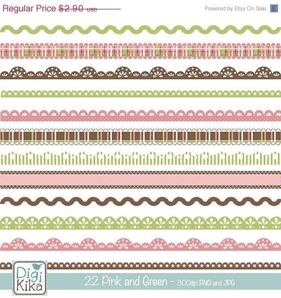 22 Pink ,Brw Digital Borders Clipart - scrapbooking, card design, stickers