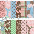 Doodle Flowers Digital Papers - Floral Scrapbook Papers - card design
