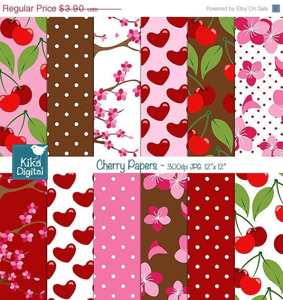 Cherry Digital Papers - Red , Pink Digital Scrapbooking Papers - card design