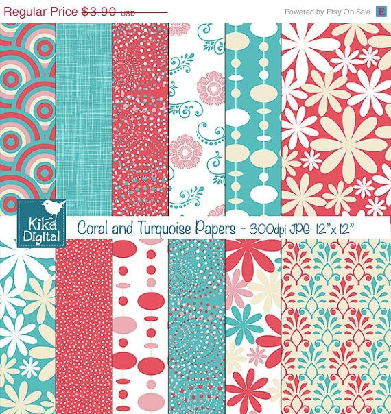 Coral , Turquoise Digital Papers - Scrapbook, card design, background