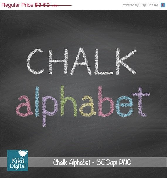 H, Drawn Chalk Alphabet - Digital Clipart / Scrapbooking colorful - card design