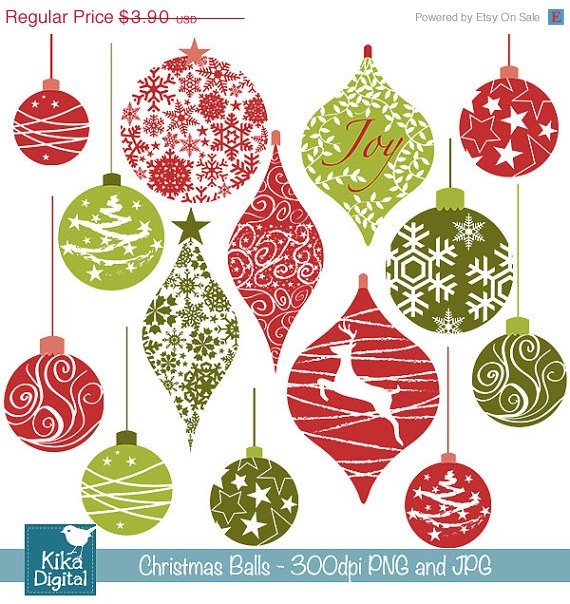 Christmas Bs Digital Clipart / Scrapbooking - card design, invitations, stickers
