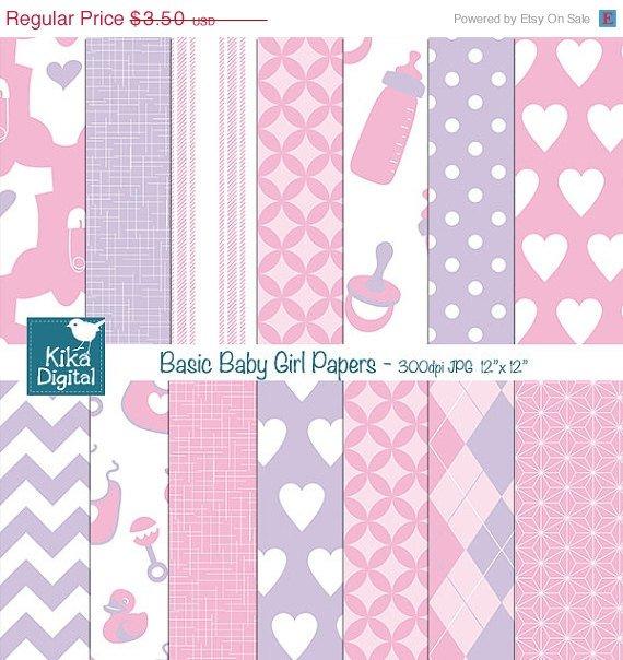 Basic Baby Girl Digital Papers - Pink , Violet Scrapbooking Papers - card design