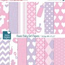 Basic Baby Girl Digital Papers - Pink , Violet Scrapbooking Papers - card design