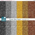 Metalic Glitter Digital Papers-Gold Silver Glitter Papers-card designbackgroundO