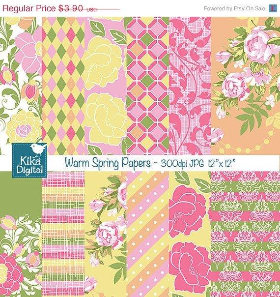 Warm Spring Digital Papers - Digital Scrapbook Papers card design, stickers