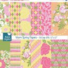 Warm Spring Digital Papers - Digital Scrapbook Papers card design, stickers