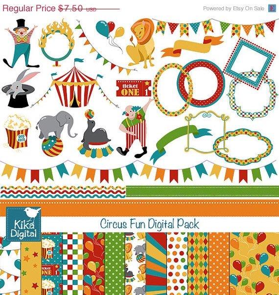 Circus Fun Digital Clipart , Paper Combo-Scrapbooking , card design, stickers OW