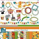 Circus Fun Digital Clipart , Paper Combo-Scrapbooking , card design, stickers OW