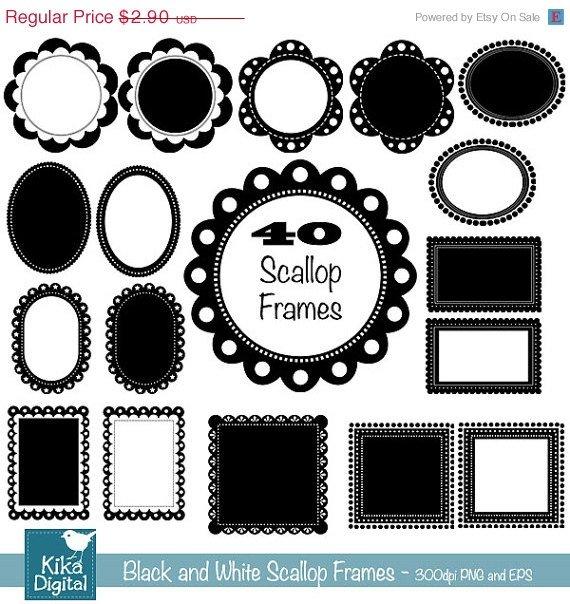 40 Scop Digital Frames - Digital Clipart - Scrapbooking, card design,photography