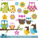 Baby Owl Digital Clipart - Scrapbook , card design, invitations, stickers
