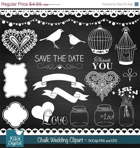 Chalkboard Wedding clipart, vintage print