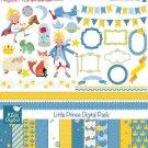 Prince Digital Clipart , Paper Bundle - Scrapbook , card design, stickers