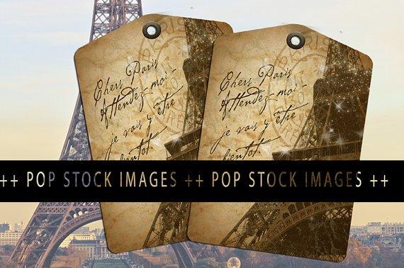 Antique Paris Eiffel Tower Collage Sheet-Dear Paris Tags-print Tags-Ephemera Postmark Tags-8