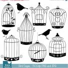 Bird Cage Silhouettes - Digital Clipart / Scrapbooking black - card design