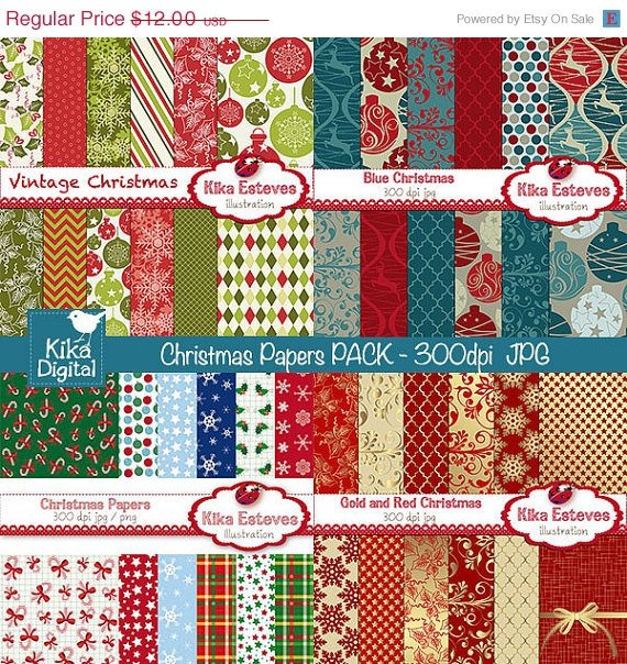 Christmas Digital Papers Combo - Scrapbook , card design, invitations