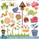 Garden Digital Clipart - Scrapbooking , card design, invitations, stickers