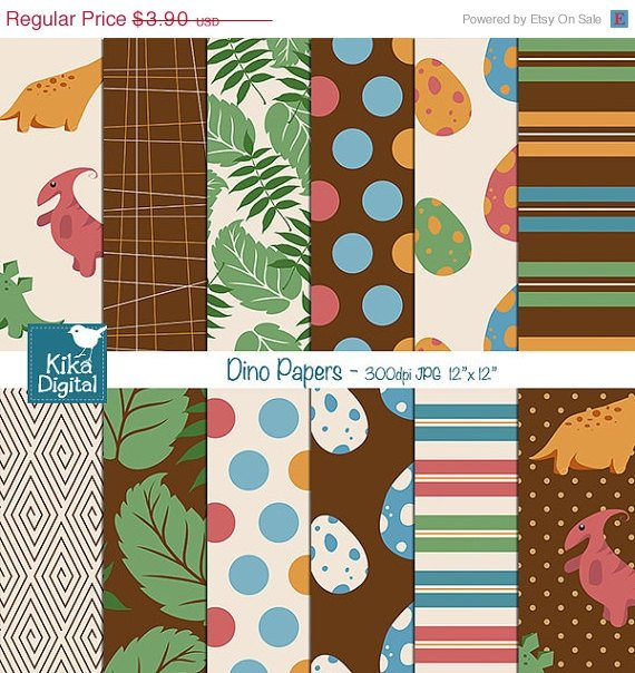 Dinosaur Digital Papers - Dino Scrapbooking Papers - card design, stickers