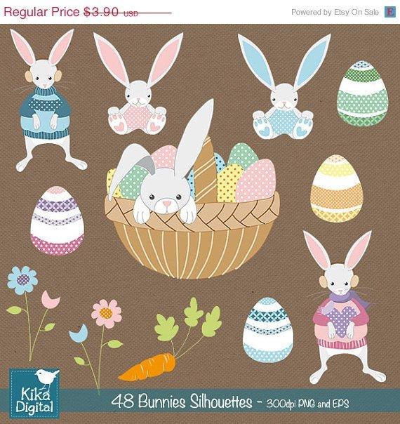 Easter Bunnies Digital ClipartCute Bunny Clip ArtPastel Color Easter GraphicsEaster Egg