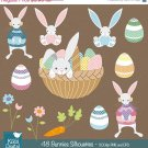 Easter Bunnies Digital ClipartCute Bunny Clip ArtPastel Color Easter GraphicsEaster Egg