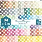 Diagonal Gingham Digital Papers - Rainbow Scrapbook Papers - Huge Paper Pack