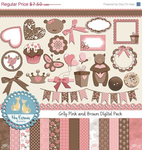 Pink , Brown Teddy Digital Clip art , Paper Bundle - Scrapbooking , card design
