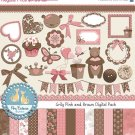 Pink , Brown Teddy Digital Clip art , Paper Bundle - Scrapbooking , card design