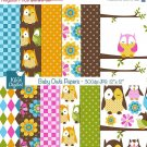 Baby Owl Papers - Digital Scrapbook Papers - card design, invitations, stickers