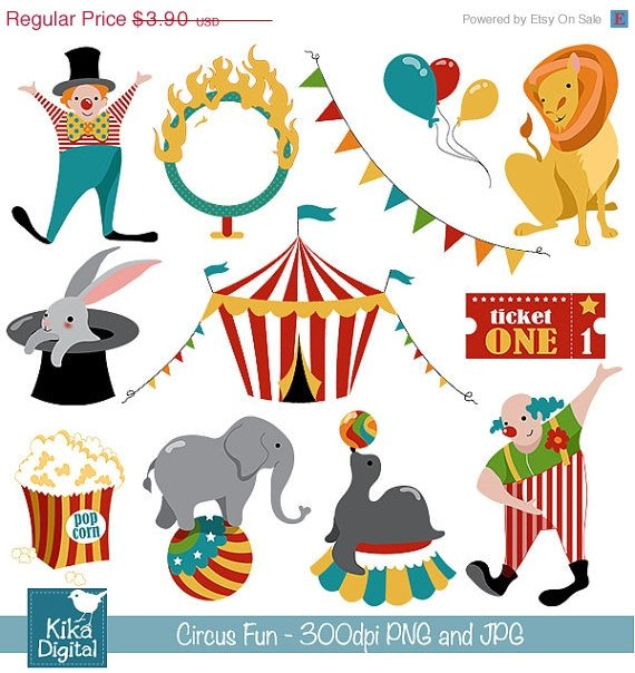 Circus Fun Digital Clipart - Scrapbooking , card design, photo booth
