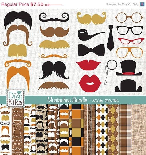 Mustaches Digital Bundle-Clipart , Paper Pack-scrapbooking , photo album, design