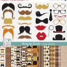 Mustaches Digital Bundle-Clipart , Paper Pack-scrapbooking , photo album, design