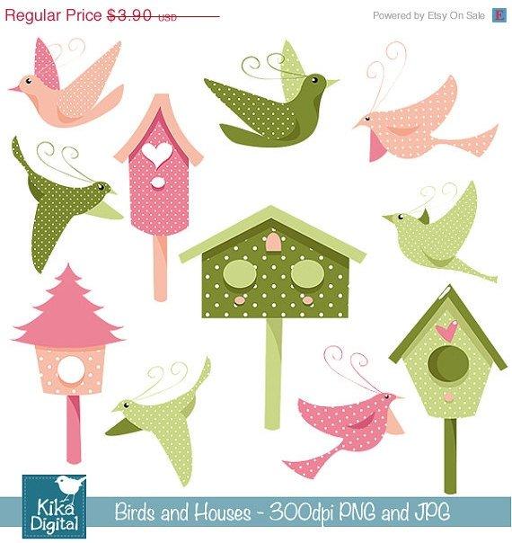Birds , Houses Digital Clipart / Scrapbooking - card design, stickers