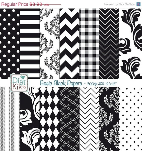 Basic Black Papers - Black , White Scrapbook Papers - card design, background