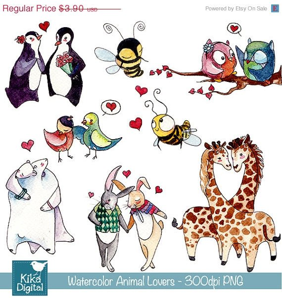 Watercolor Love Couples Clipart- H, Drawn Animal couples- card design, stickers