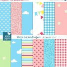 Peppa Pig Insprired Digital Papers, Chicken Digital Scrapbook Papers card design