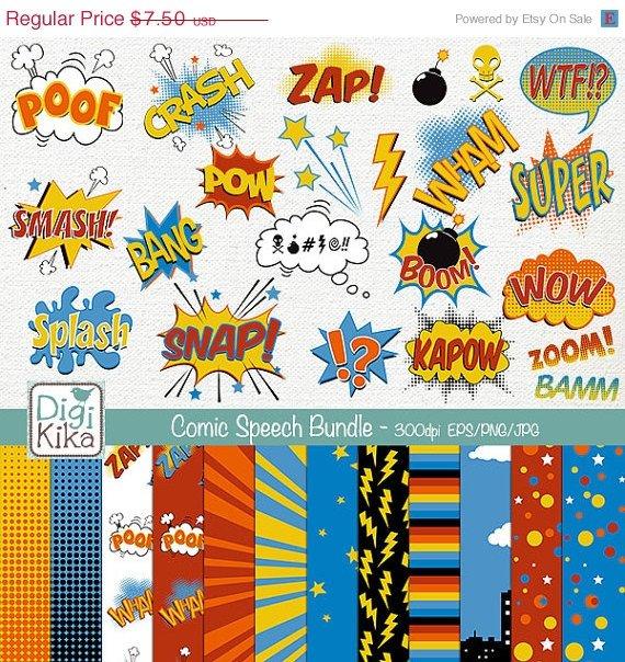 Speech Bubble Digital Bundle - Clipart , Paper Pack - scrapbooking , photo album