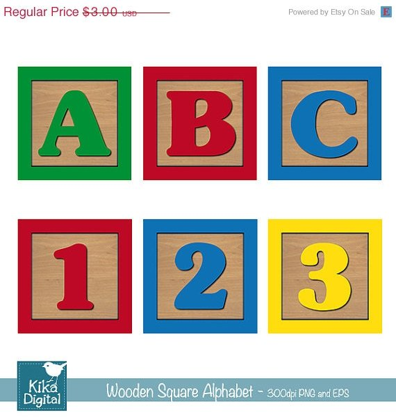 Baby Blocks Alphabet Numbers Digital ClipartWooden Blocks AlphabetAlphabet Clip Art