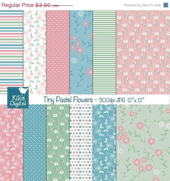 Tiny Pastel Flowers Digital Papers - Digital Scrapbooking Papers - card design