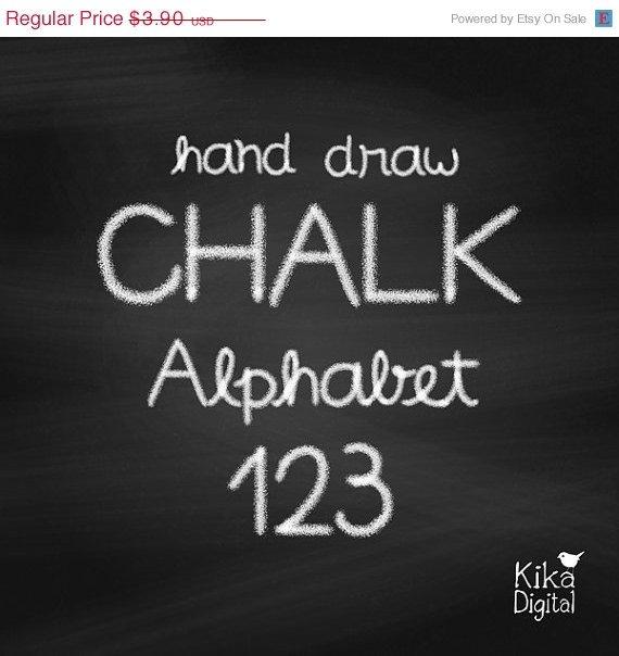 HDrawn Chalk Alphabet 2-Alphabet Number Digital Clipart-scrapbookingcard design