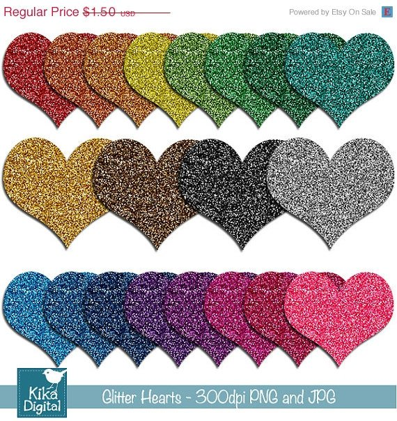 Glitter Hearts Digital Clipart - Scrapbooking , invitations, stickers