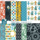 Retro Robots Digital Papers - Scrapbooking, card design, stickers, background