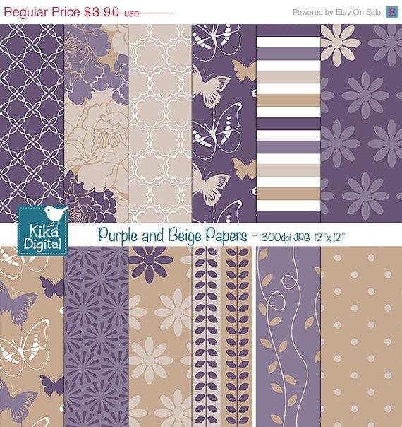 Purples , Beige Digital Papers - Wedding Papers - scrapbook, card design