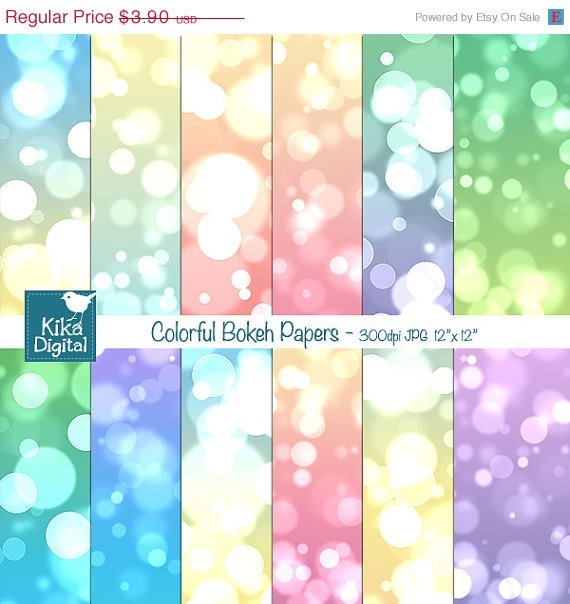 Colorful Bokeh Digital Papers, Pastel Color Bokeh Scrapbook Papers - card design