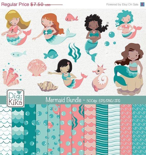 Mermaid Digital Bundle - Clipart , Paper Pack - scrapbooking , photo album