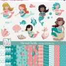 Mermaid Digital Bundle - Clipart , Paper Pack - scrapbooking , photo album