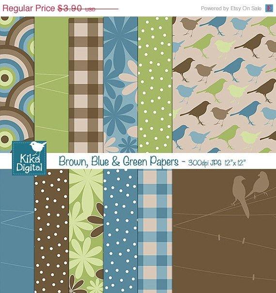 Brown Blu Grn Digital Papers - Scrapbooking, card design, invitations, stickers
