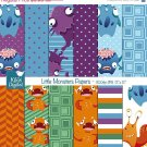 Monters Digital Papers - Cute Monters Scrapbooking Papers, card design